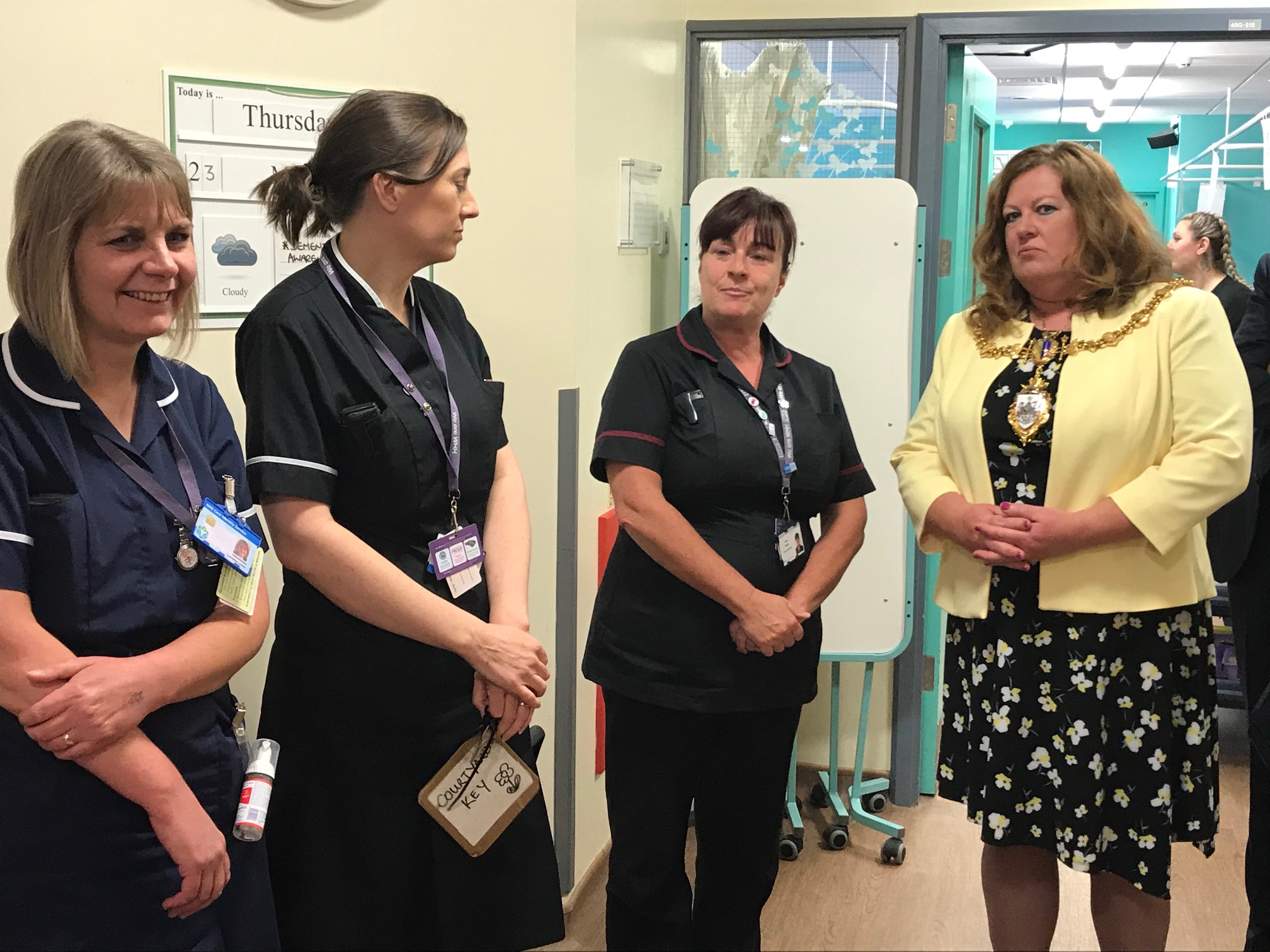 Mayor of Warrington,  Cllr Wendy Johnson meeting Jane Green, nurse consultant - dementia, Deborah Hammond, matron for eldery care and Lorraine Lewis, ward manager Forget Me Not
