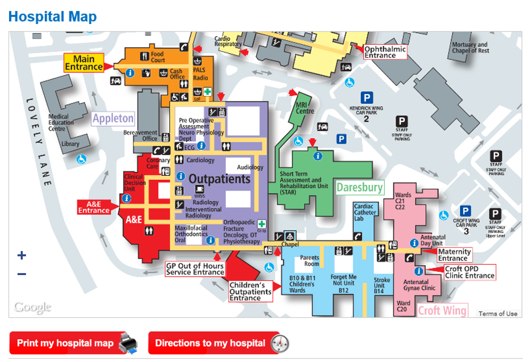 Map Of Uk Hospitals.Getting To Warrington Hospital Warrington And Halton Hospitals
